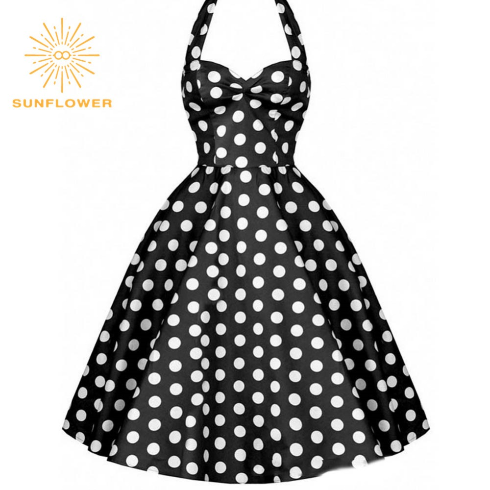 Summer Style Retro Vestidos Woman Vintage 50s 60s Dress Big Swing Polka Dot Backless Plus Size