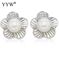 Free Shipping Hot Sale Real Natural Freshwater Pearl Stud Earring With White Genuine Cultured Pearl Beads