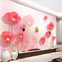 Custom 3d wallpaper mural - modern minimalist flower living room bedroom wall decoration free shipping 3d stereo courtyard scenery wallpaper bedroom living room decoration flower garden false window wallpaper mural