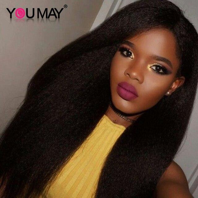 Kinky Straight Glueless Full Lace Wig Italian Coarse Yaki Full Lace Human Hair Wigs For Black Women Lace Front Human Hair Wigs