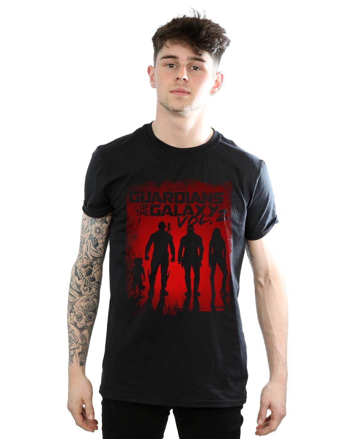O-Neck T Shirt Men Marvel Mens Guardians of the Galaxy Shadows T-Shirt