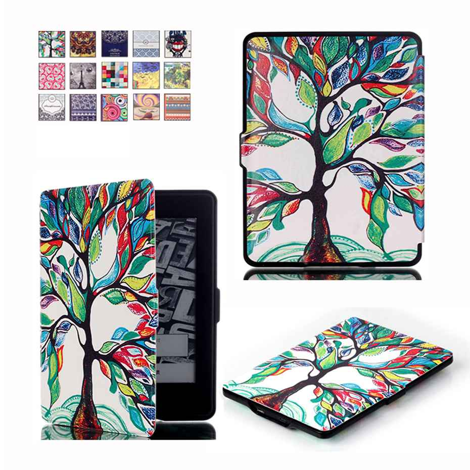 For Kindle Paperwhite Case Printing design Smart Cover Auto Wake Up/Sleep Function PU leather case for Kindle Paperwhite kindle paperwhite 1 2 3 case e book cover 2017 magnetic pu leather smart case for kindle paperwhite 3 cover 6 auto sleep wake