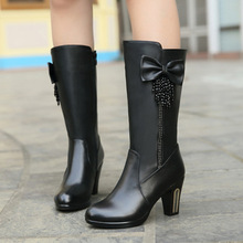 Winter New Women's Cotton Top Layer Of Leather High-Heeled Leather Boots In Wool Women Cotton Boots Women Boots Botas Femininas