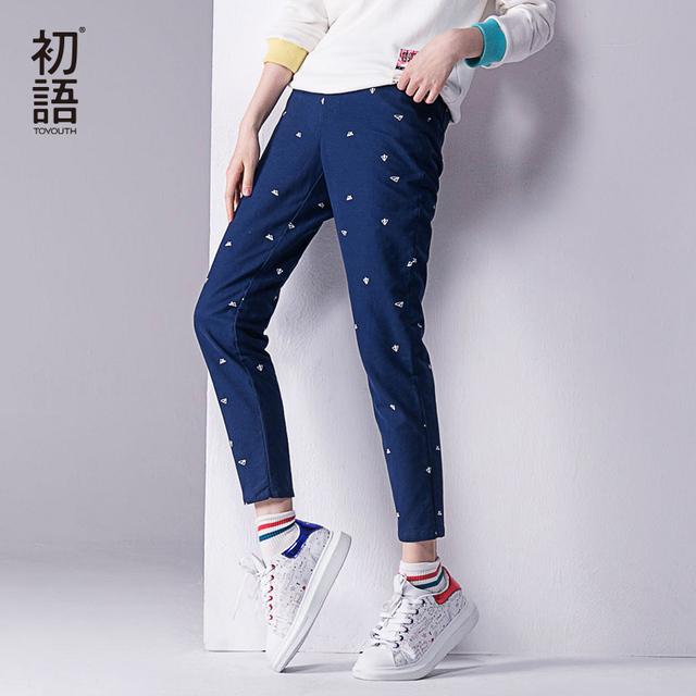 Toyouth 2017 outono calças novas mulheres impresso algodão ocasional reta calças de comprimento total calças xxl