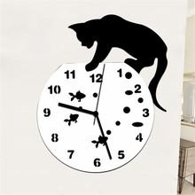 2020 nowy niegrzeczny kot akrylowa naklejka-zegar na ścianę nowoczesny Design DIY 3D Home Decoration Accessorie Art Watch lustrzany efekt naklejki tanie tanio ISHOWTIENDA CN (pochodzenie) 3d naklejki Kreatywny Na ścianie Meble Naklejki Jednoczęściowy pakiet WALL Watch Wall Sticker