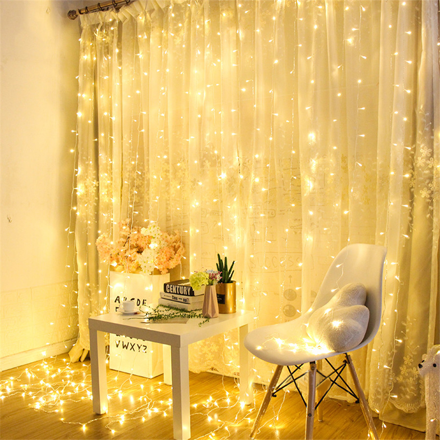 BEIAIDI 3X3M 300LED Outdoor Curtain Icicle Lights String USB/AA Battery Wedding Party Christmas Window Fairy Garland With Remote