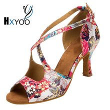 HXYOO 2018 Professional Salsa Shoes Dance Latin Women Ballroom Shoes Ladies Satin Soft Sole Buckle Red