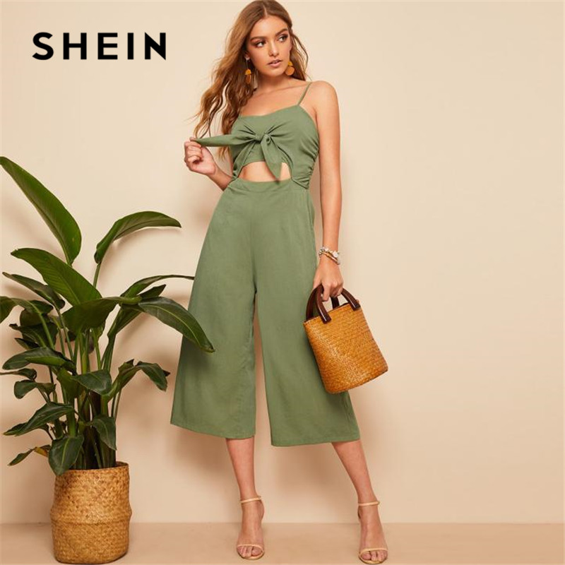 SHEIN Army Green Knotted Front Shirred Back Cami Women   Jumpsuit   2019 Boho Solid High Waist Cut Out Wide Leg Sexy   Jumpsuit