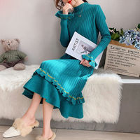 Autumn Sweet Winter Women Ruffles Knitted Dress Runway Designer Long Sleeve Female Party Sweater Dresses Clothes CC248