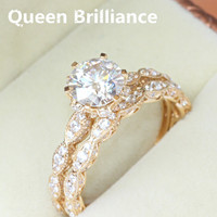 Absolutely Luxury Quality 2 Carat Ct G H 8mm TEST POSITIVE Moissanite Engagement Wedding Ring Set