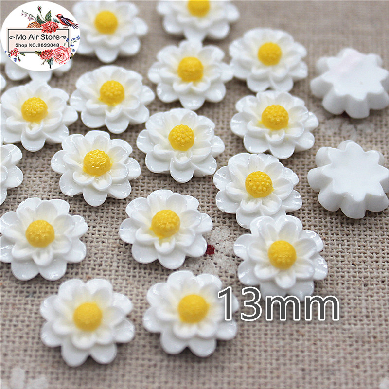 50pcs 13mm White Color Flower Daisy Resin Flatback Cabochon DIY Jewelry/phone Decoration No Hole
