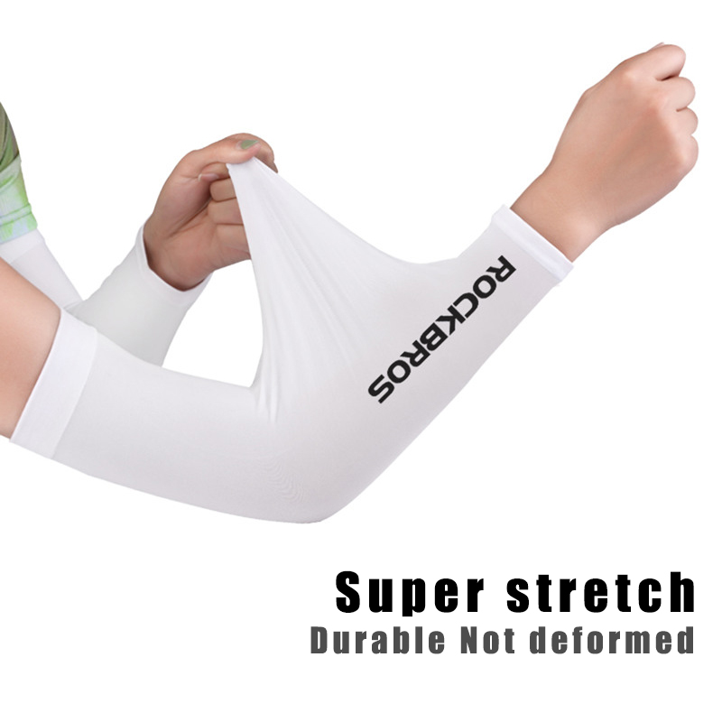 Image 2 - ROCKBROS Ice Fabric Breathable UV Protection Running Arm Sleeves Fitness Basketball Elbow Pad Sport Cycling Outdoor Arm Warmers-in Running Arm Warmers from Sports & Entertainment