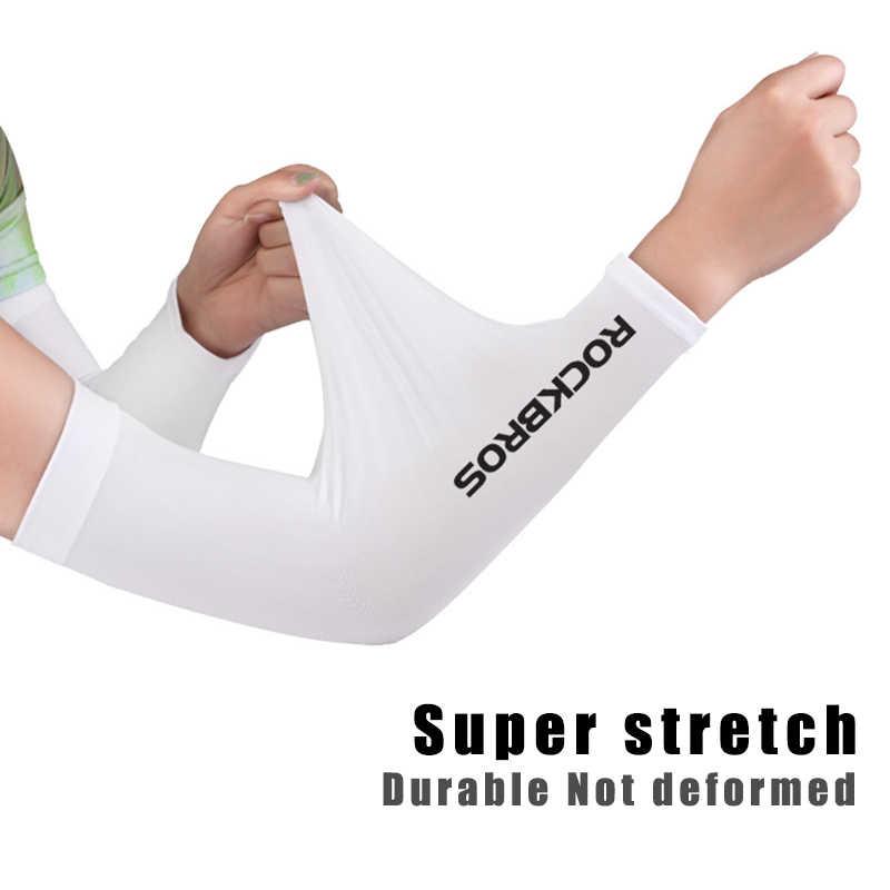 ROCKBROS Ice Fabric oddychająca ochrona przed promieniowaniem uv Running rękawy naramienne Fitness koszykówka ochraniacze na łokcie Sport kolarstwo ramię zewnętrzne podgrzewacze