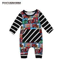 c31ea339496 Focusnorm nuevo bebé recién nacido Niños carácter imprimir manga larga  romper jumpsuit trajes ropa rayada tamaño 0-24 m