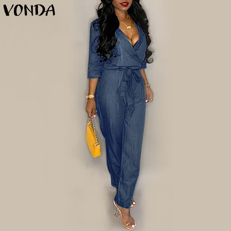 VONDA Denim Rompers Womens   Jumpsuit   2019 Summer Sexy V Neck Playsuit Plus Size Pants Casual Loose Overalls Femme 2019 Oversize