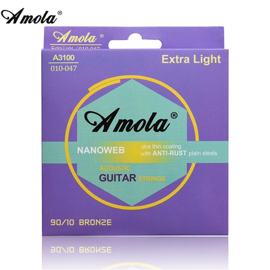 Amola Acoustic Guitar Strings Set 010 011 012 Broze Phosphor Thin Coating Acoustic Wound Guitar Strings 6pcs/set