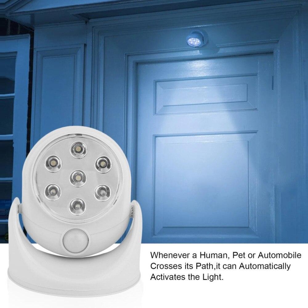 6 V 7 Led Cordless Motion Activated Sensore di Luce Lampada Lampade Da Parete di Rotazione di 360 Gradi Bianco Portico Luci Indoor Outdoor illuminazione