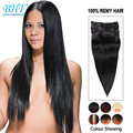 Peruvian Virgin Hair Clip Ins Human Hair Extensions Natural Back Coarse Hair Clip Ins Balayage Hair Extensiones Clip Ons
