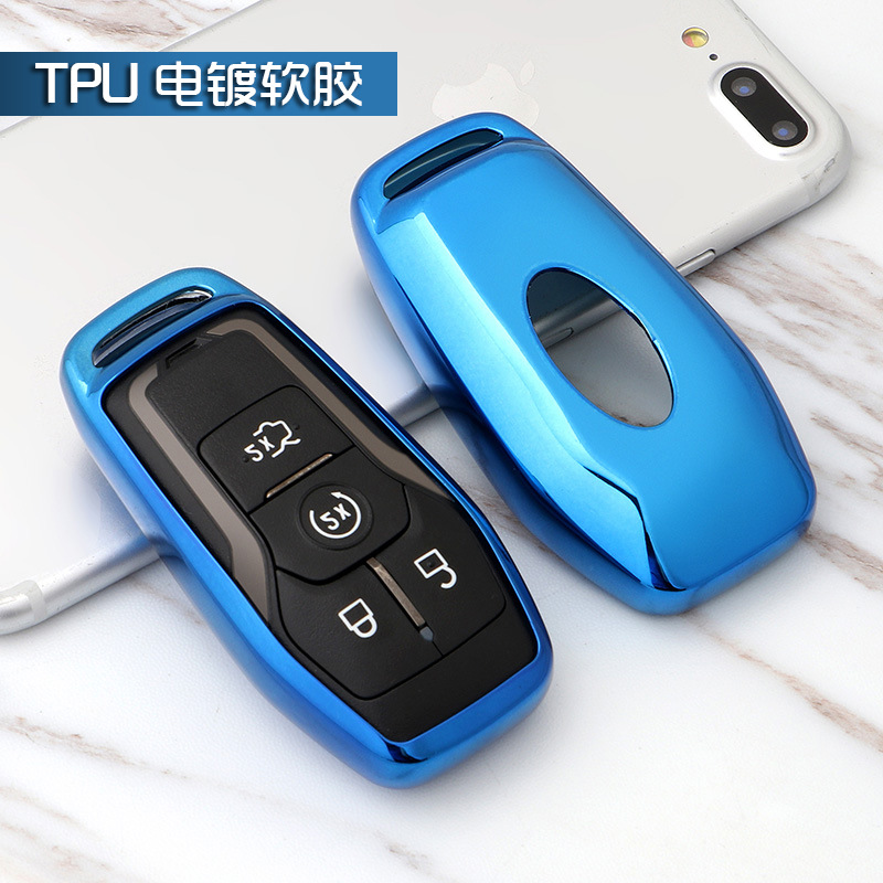 L-TAO Genuine Leather Remote car Key Chains Cases Holder Wallet for Ford Edge Explorer Fusion Mustang F-150 F-450 F-550 Lincoln MKZ MKC 5 Buttons Key