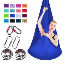 16 Colors Yoga Hammock Elastic Aerial Exercise Indoor Hanging Cloth With Knots Belt and Safety Buckle Body Practice