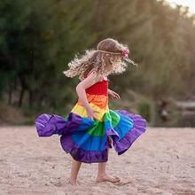 vestidos Girls Dress Kids Dresses For Toddler Baby Rainbow Striped Patchwork Princess Party Sundress W605