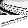 3D EXPLORER Letters Hood Emblem Silver Chrome Black Logo Sticker For 2011 2012 2013 2014 2015 Ford Explorer