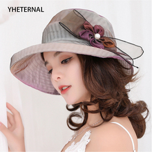 5 Colors Fashion Summer Organza Sun Hats For Women Elegant Laides Caps Church Vintage Hat Normal Brim With Cute Flower
