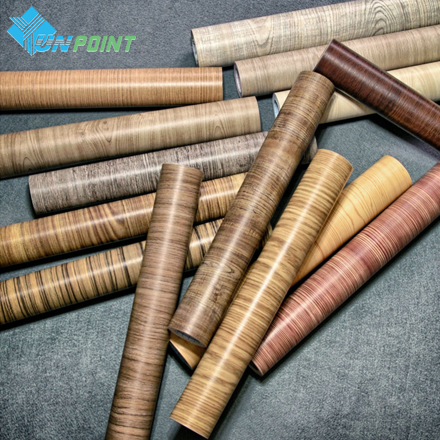 45cmX5m Fabrik kalis air PVC Pelekat Roll Vinyl Wallpaper Furniture Wood Grain Paper Self Adhesive Film Wardrobe Door Sticker