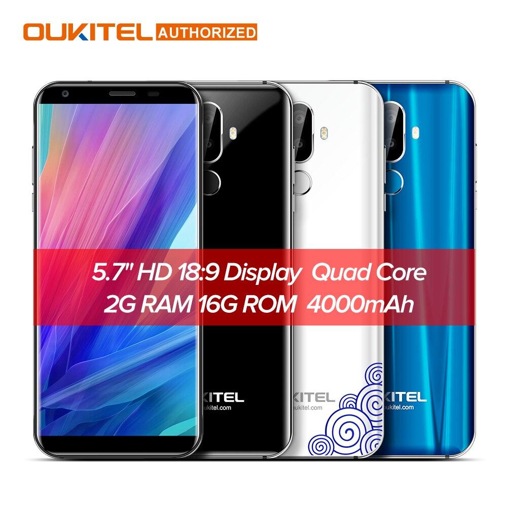 Oukitel K5 4g 5.7 pouce 18:9 Affichage MTK6737T Mobile Téléphone Android 7.0 2g 16g Quad Core 4000 mah 3 Caméras D'empreintes Digitales Smartphone