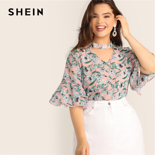 SHEIN Plus Size V-Cut Choker Floral Print Butterfly Sleeve Top Blouse 2019 Women Summer Casual Keyhole Half Sleeve Blouses