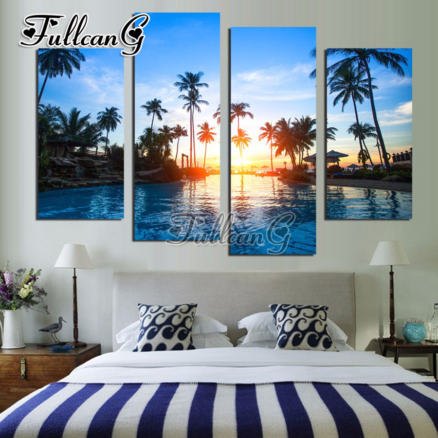 FULLCANG Coconut Tree Seascape Diy Full Square Diamond Embroidery 4PCS Diamond Painting Cross Stitch Mosaic Rhinestone Kits G610 in Diamond Painting Cross Stitch from Home Garden