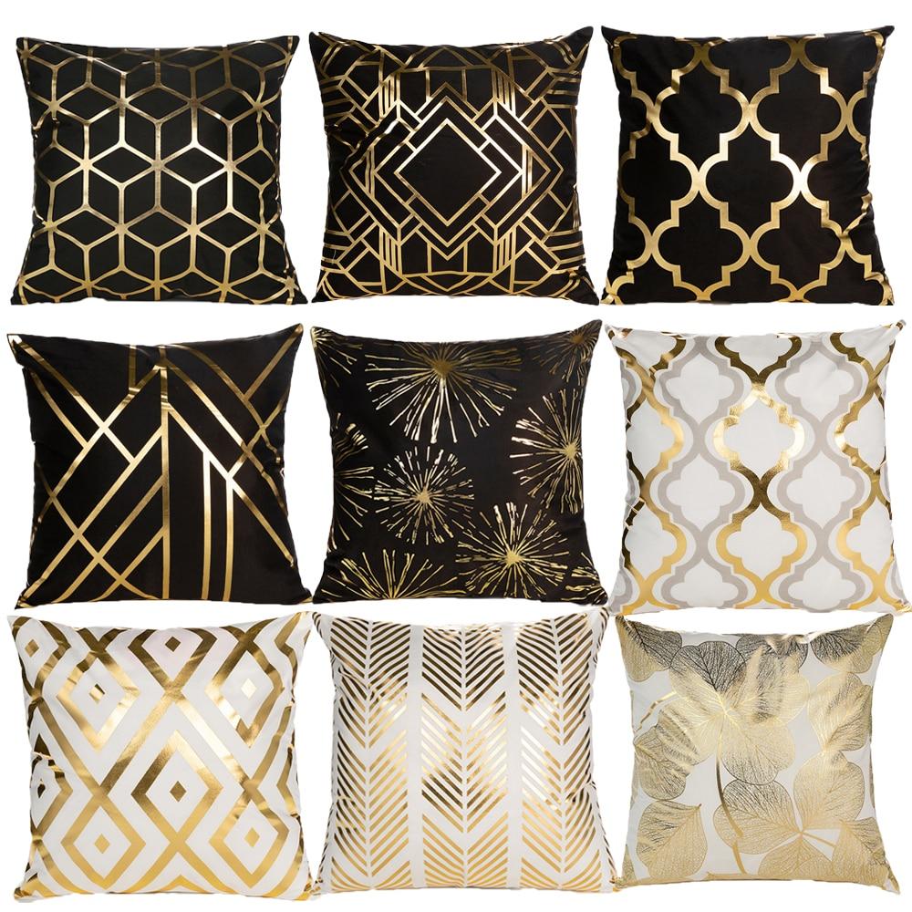 Black White Bronzing Cushion Cover Decorative Pillows Fashion Seat Cushions Home Decor Geometric Throw Pillow Sofa Pillowcase