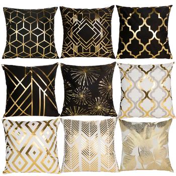 Geometryczna poduszka pokrywa czarny biały poduszka pokrywa poduszka dekoracyjna Home Decor Sofa poszewka moda złota poszewka tanie i dobre opinie CN (pochodzenie) PRINTED Bez wzorków Z dzianiny GEOMETRIC Plac Seat DEKORACYJNY Chair SAMOCHÓD Poliester Bawełna 45 x 45cm