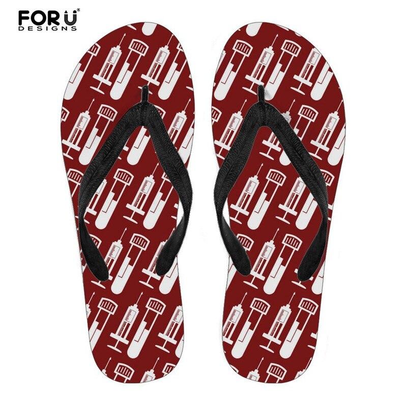 Forudesigns Phlebotomist Drucken Strand Flip-flops Flipflops Sandalen Schuhe Bad Hausschuhe Sandalen Frauen Hausschuhe Sommer Für Damen
