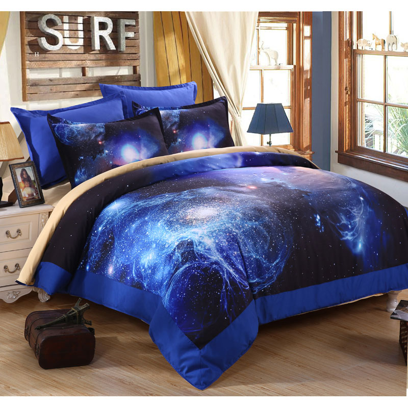 3d universe outer space printed blue galaxy bedding set for Outer space bedding