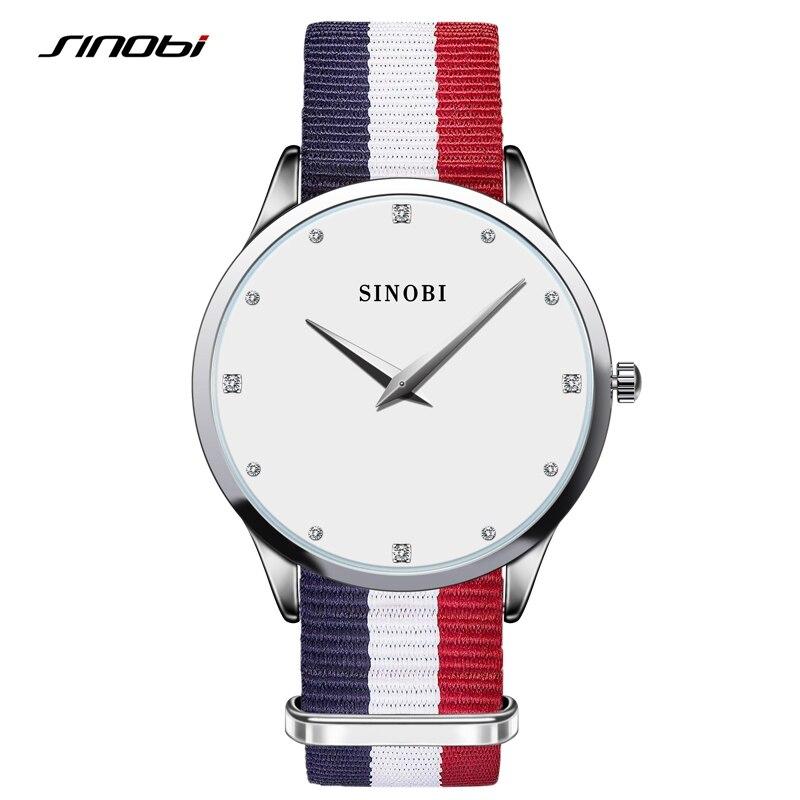 SINOBI Quartz Women Ladies Rhinestone Wrist Watches Nylon Strap 30 Meters Waterproof Montre Femme Dress font