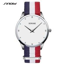 Sinobi de cuarzo señoras de las mujeres rhinestone relojes de pulsera correa de nylon de 30 metros impermeable montre femme vestido relojes mujer 2017