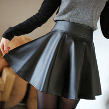 Autumn and winter female leather skirt pleated leather bust skirt short skirt high waist small leather skirt PU skirt puff skirt