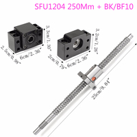 Antibacklash Ball Screw SFU1204 Length 250mm With Ballnut BF/BK10 End Support Kit Machining Stainless Steel Ball Screw Fittings