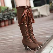 high heels Long Boots  Autumn and winter boots thick high-heeled women's boots lace up boots warm lonth shoes