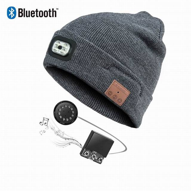 JINSERTA Wireless Bluetooth Earphone Hat with Removable LED Light BT 4.2 Stereo Music Caps with MIC for Smartphone Handsfree
