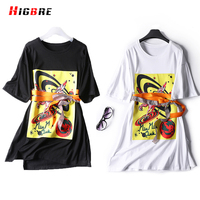 HIGBRE New Casual Plus Size Tshirts And Tops For Women Print Long Loose T Shirt Summer