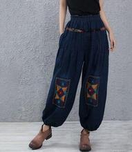 Harem pants for women plus size elastic waist embroidery blue casual jeans denim high waist cotton blend autumn spring hoj0601