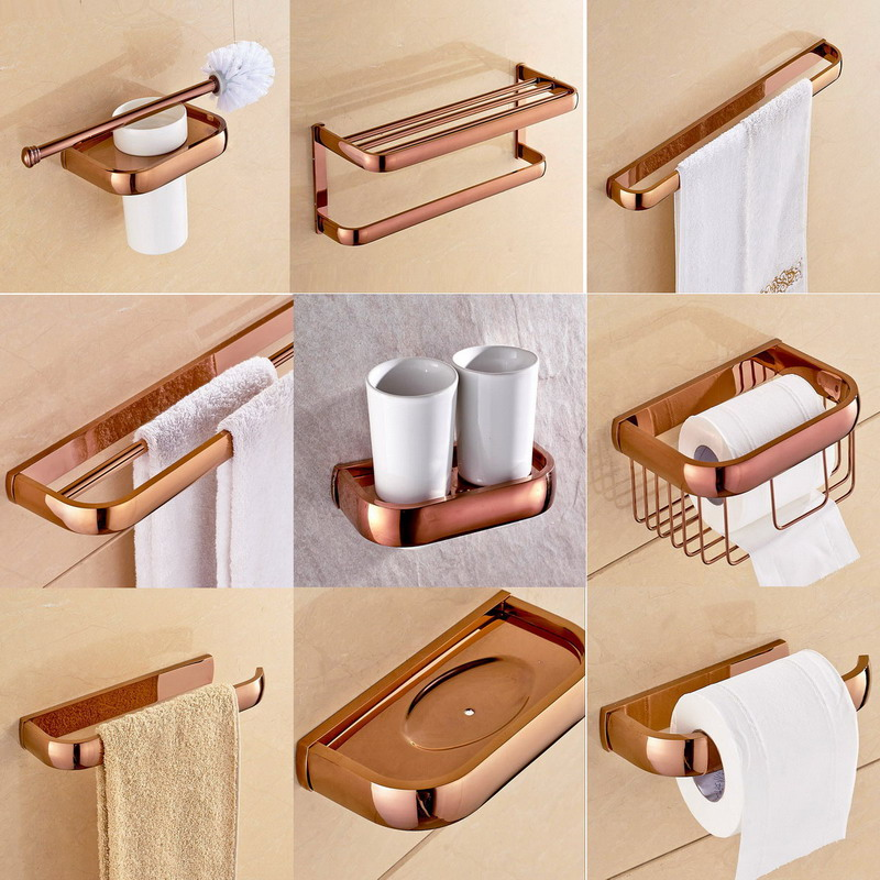 Wall Mounted Luxury Polished Rose Gold Copper Brass Square Bathroom Accessories Set Bath Hardware Towel Bar Aset022