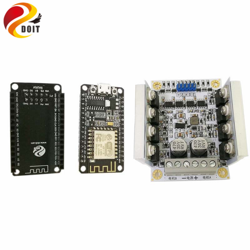 DOIT Nodemcu Development Board based on ESP8266+ Big Power Motor Driver Board Kit for Control 2wd/4wd Robot Tank Car Toy doit c300 smart robot car chassis controlled by android and ios phone based on nodemcu esp8266 4wd car diy android toy robot