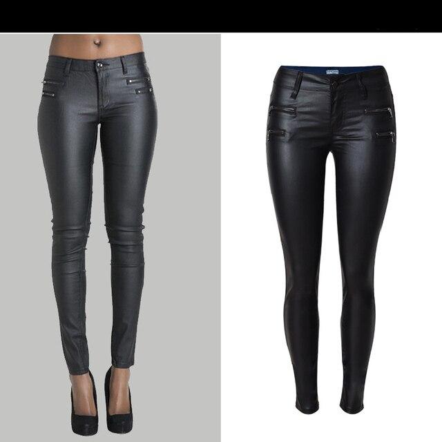 Sherhure jeans Femme cuir synthétique polyuréthane noir Pantalon Pantalon Femme Fitness Leggings taille basse Femme Skinny crayon Pantalon 2