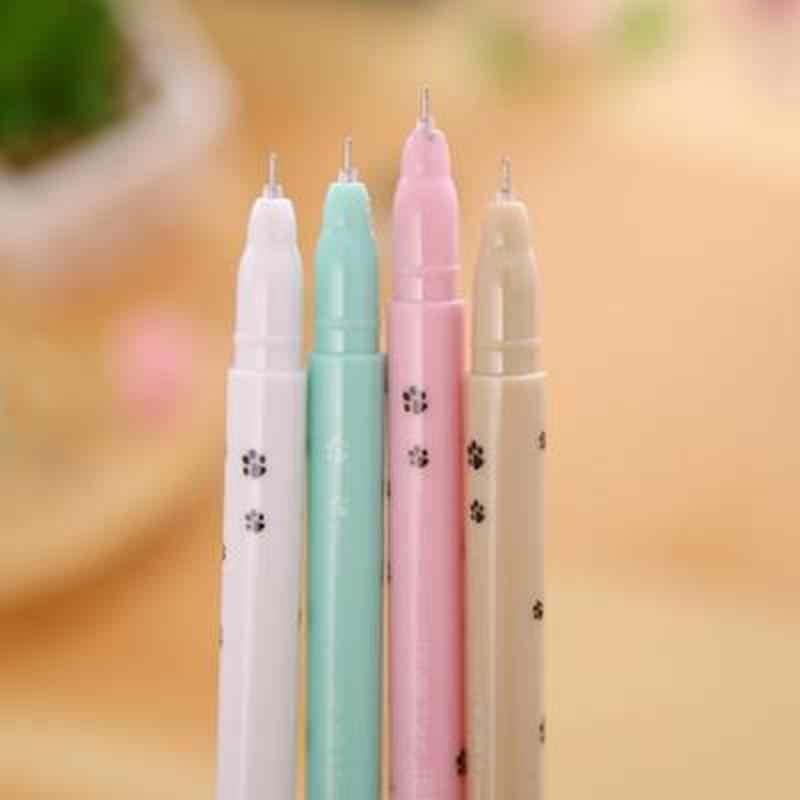 4 pièces/ensemble stylo Gel chat mignon dessin animé papeterie étudiant écriture stylos Gel nouveauté Kawaii fournitures scolaires mignon stylo Style coréen stylo