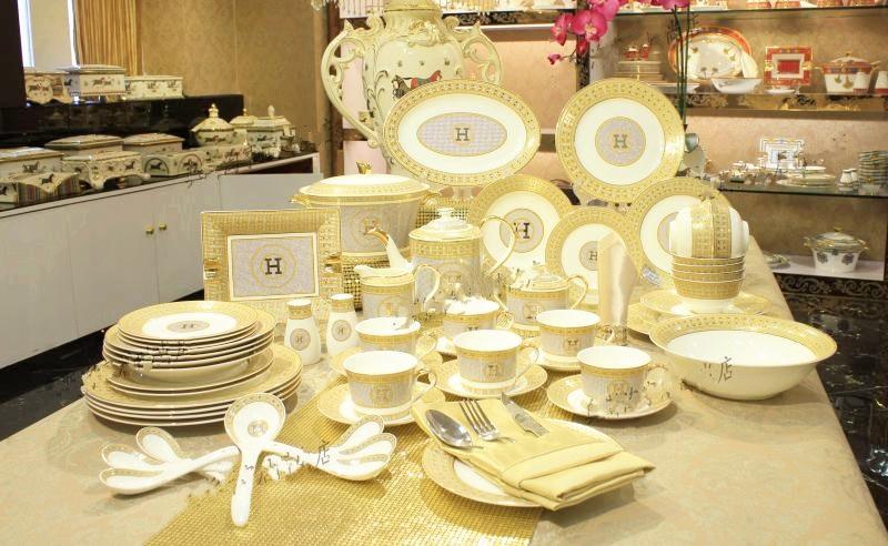 Low price top brand h luxury ceramic tableware suit 43pieces in dinnerware se - Vaisselle de luxe marque ...