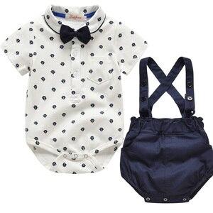 Image 1 - Baby Boy Clothing Set Summer Toddler Clothes Gentleman Bowtie Bodysuit+Straps Braces Shorts Infant Wedding wedding Outfit Suit