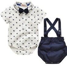 Baby Boy Kleding Set Zomer Peuter Kleding Gentleman Bowtie Bodysuit + Riemen Bretels Shorts Baby Bruiloft bruiloft Outfit Pak